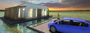 Nowoczesne domy na wodzie, domy na wynajem w pięknej okolicy jezior