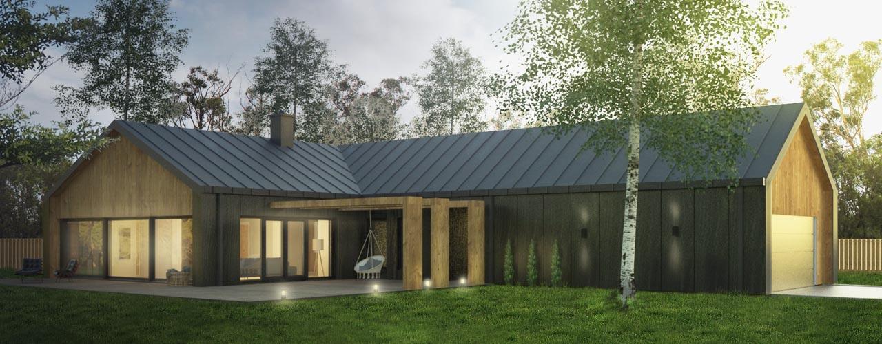 dom jednorodziny o nowoczesnym kształcie , nowoczesnych rozwiązaniach, nowoczesne budownictwo, Biuro Projektowe Mistone Września