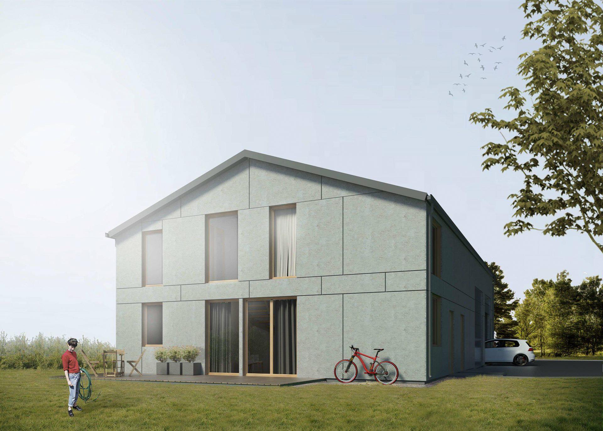 Dom jednorodzinny w prostej bryle o współczesnym designie połączony z częścią magazynowo warsztatową Biuro Projektowe Mistone sp z o.o. Września